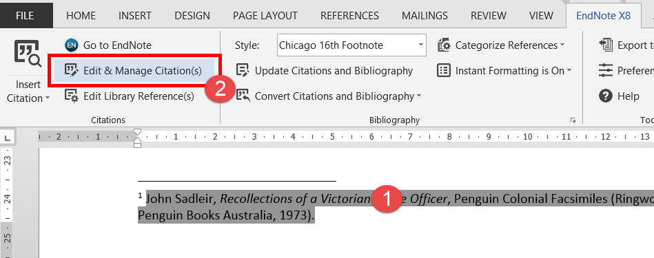 screenshot of Word indicating the Edit & Manage Citation button