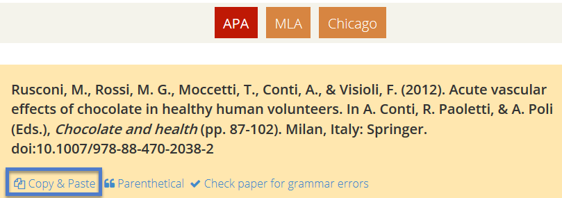 screenshot, Citation Machine, showing APA style and link to Cite a chapter
