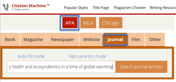 screenshot, Citation Machine, showing APA style and Journal search option