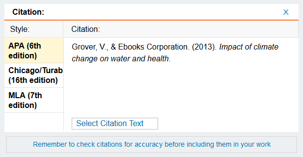 screenshot, citation example from QuickSearch