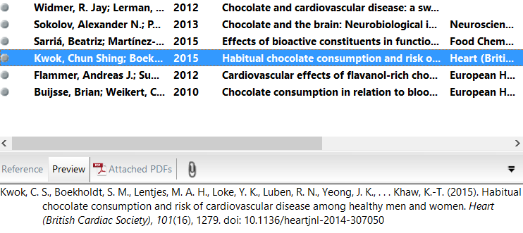 screenshot of imported references in EndNote, with a preview of one selected reference.