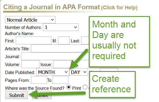 screnshot of KnightCite form for generating an APA reference