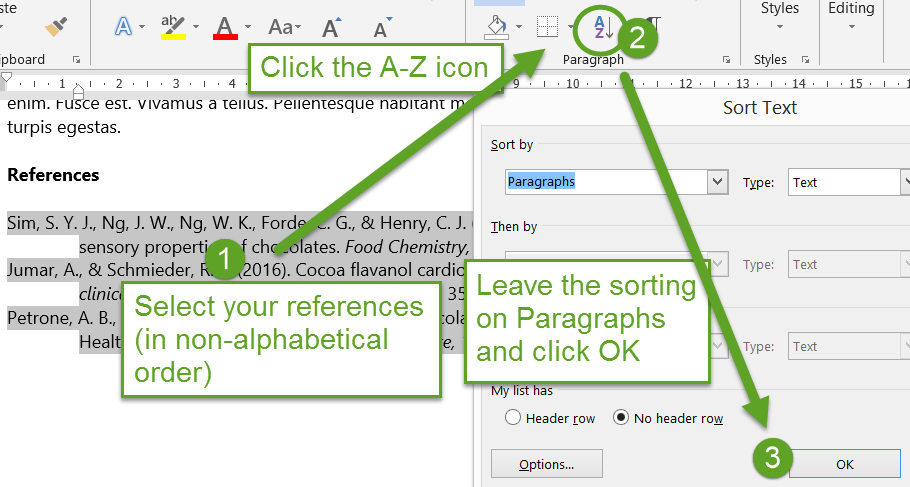 screenshot of Word, indicating locatrion of A-Z sorting icon or button