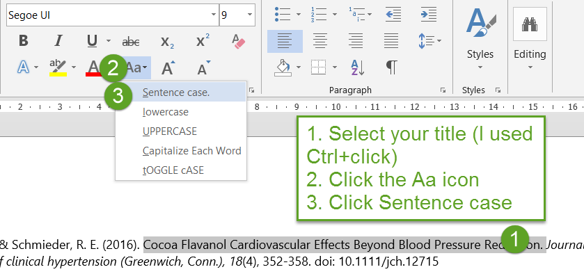 screenshot from Word, indicating location of icon to change to sentence case