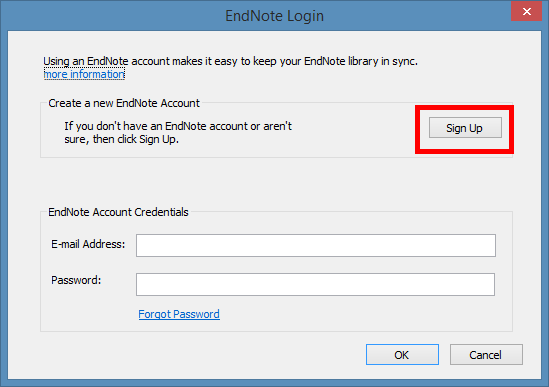 screensot of the EndNote login, indicating Sign Up button