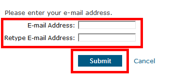 screenshot of first sign up screen, indicating two email input fields and Submit button
