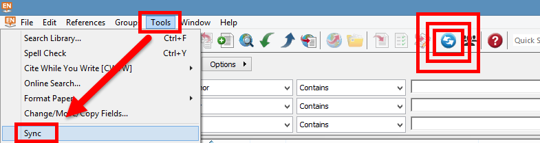 screenshot of EndNote interface, indicating Sync button and Sync option on Tools menu