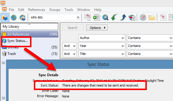 screenshot showing location of Sync Status link and example incomplete output