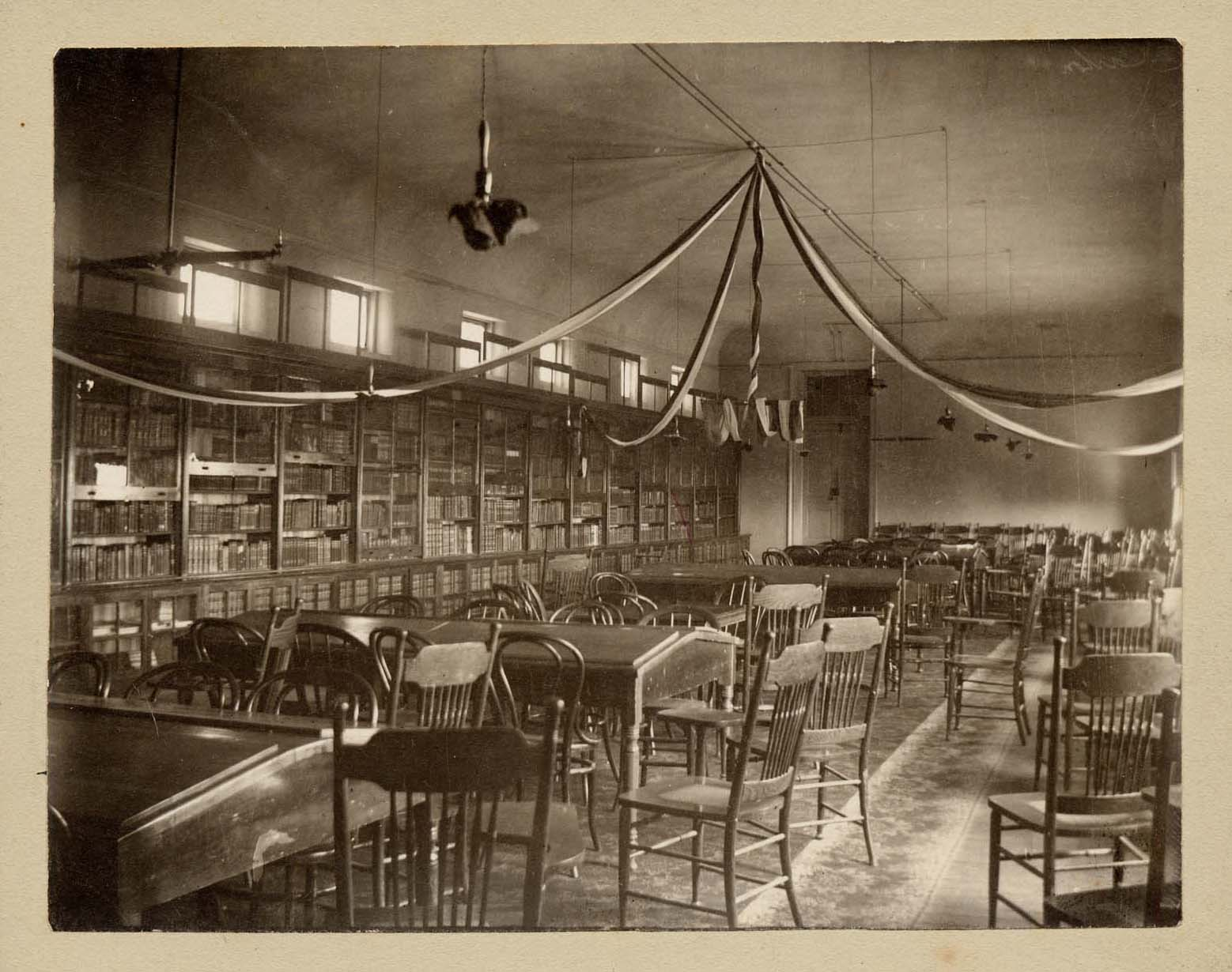 Photograph of Library, circa 1900.