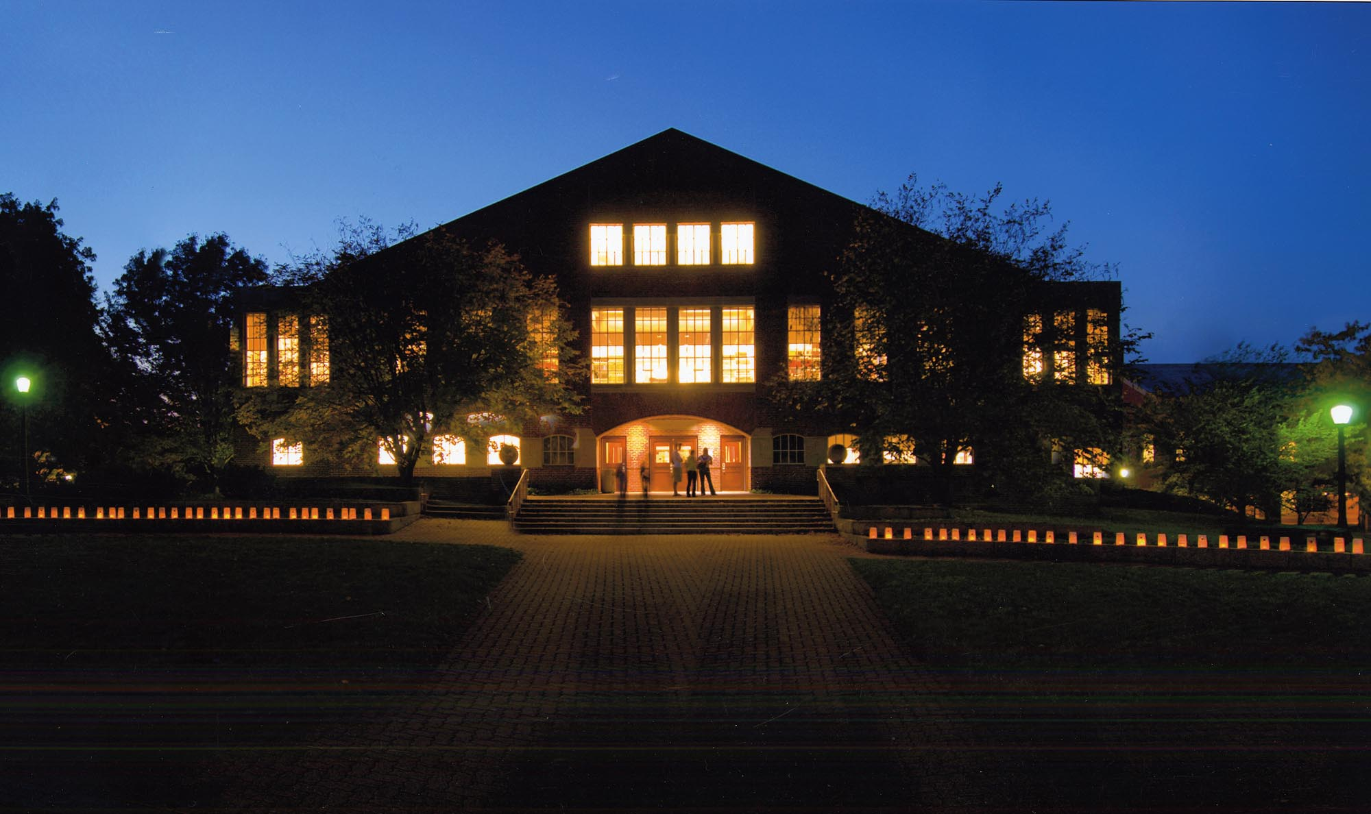 Hoover Library at night.