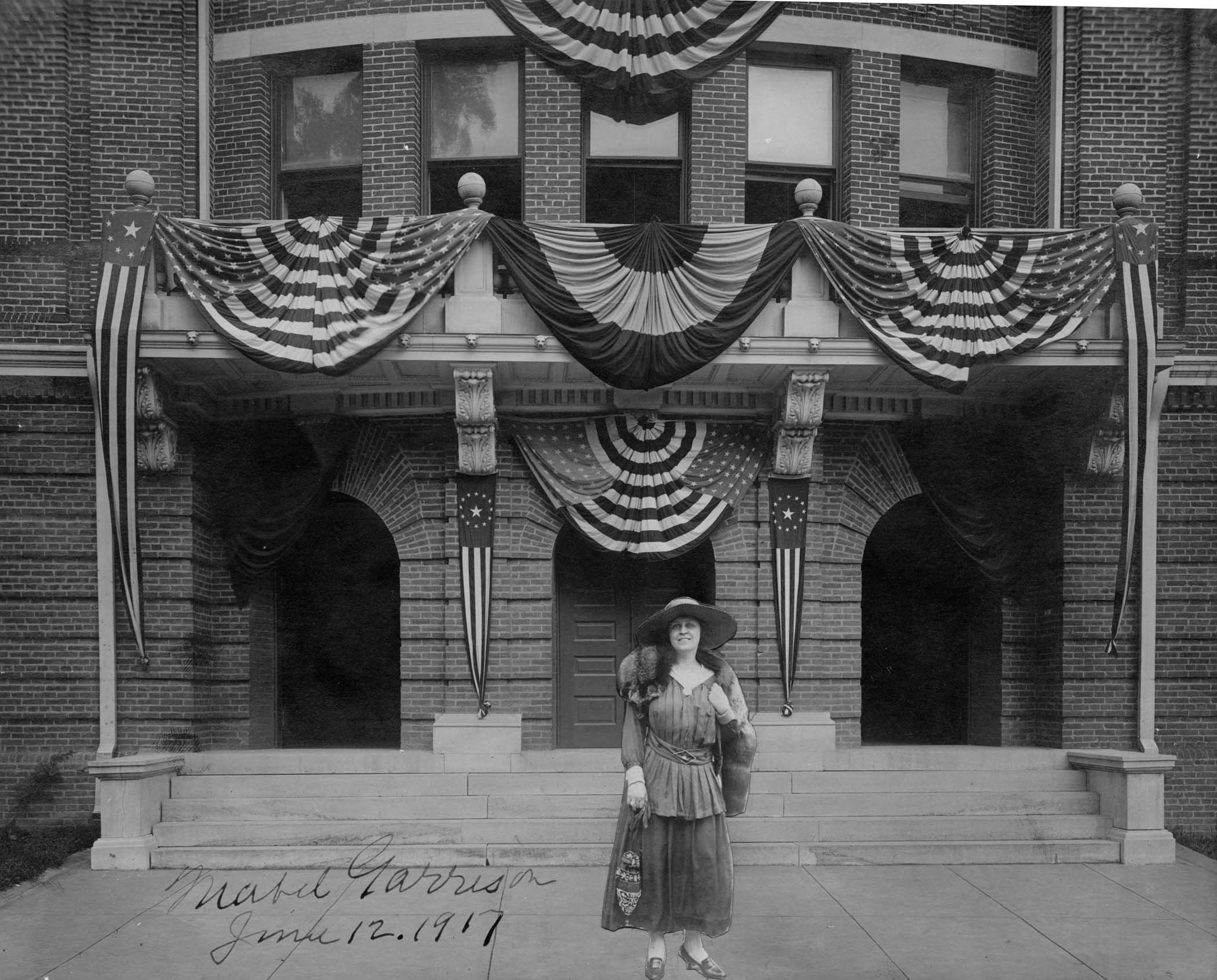 Mabel Garrison outside Alumni Hall