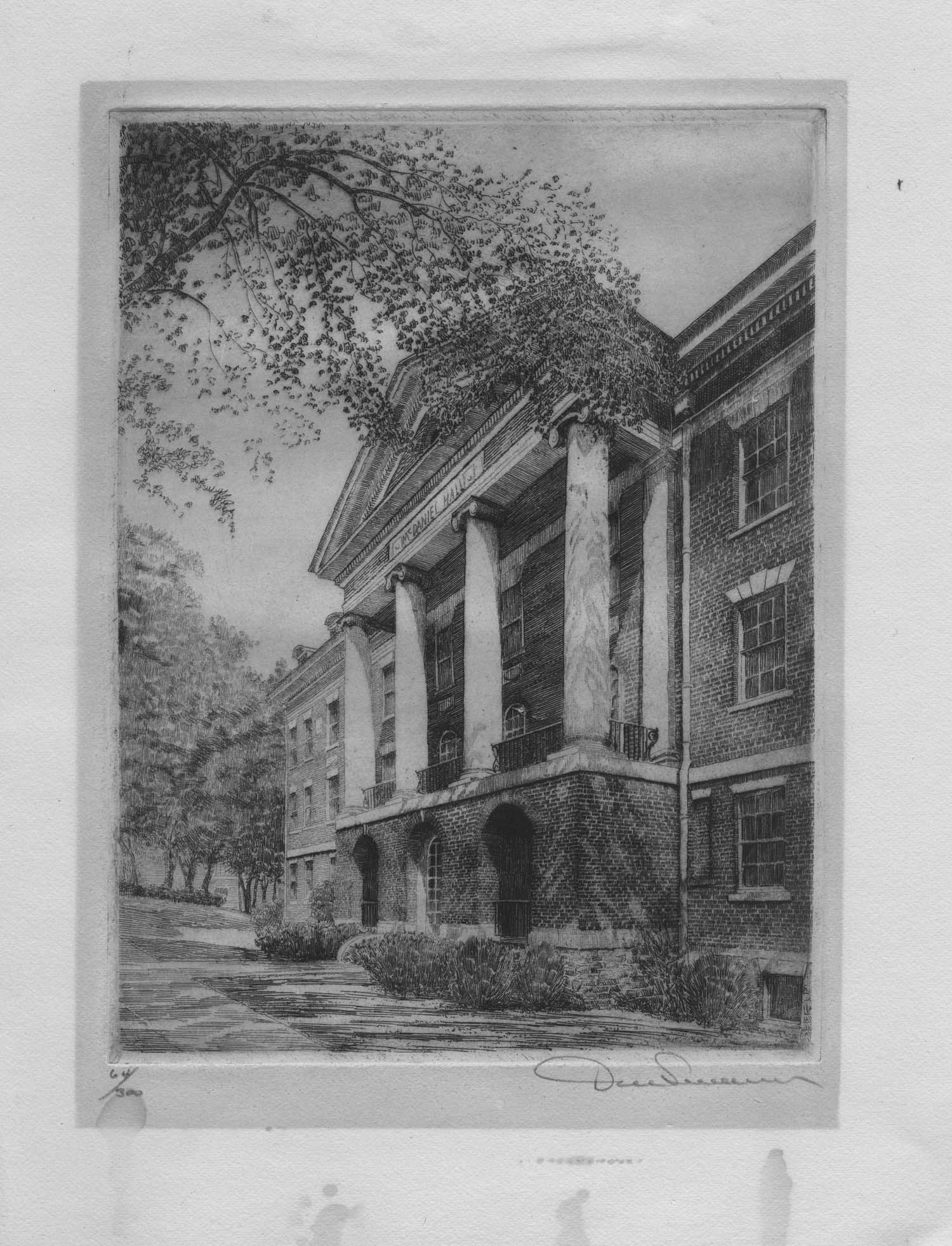 McDaniel Hall by Don Swann circa 1936