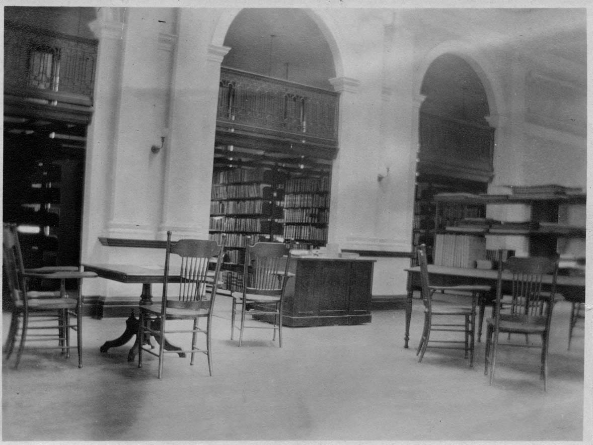 Photograph of old Library interior.