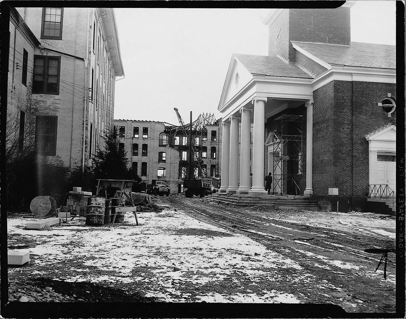 Old Main and Baker Memorial Chapel circa 1959