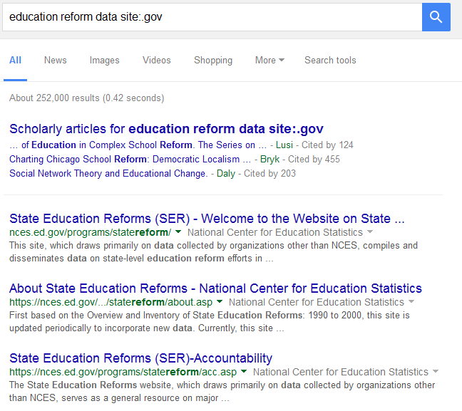 google resutls for the search [education reform data site:.gov]