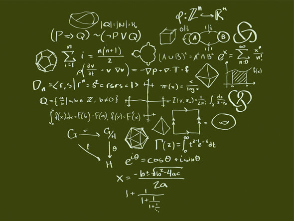 chalkboard with various mathematical equations, in the shape of a heart