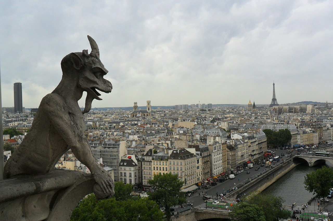 view of paris, gargoyle, and the Eiffel Tower