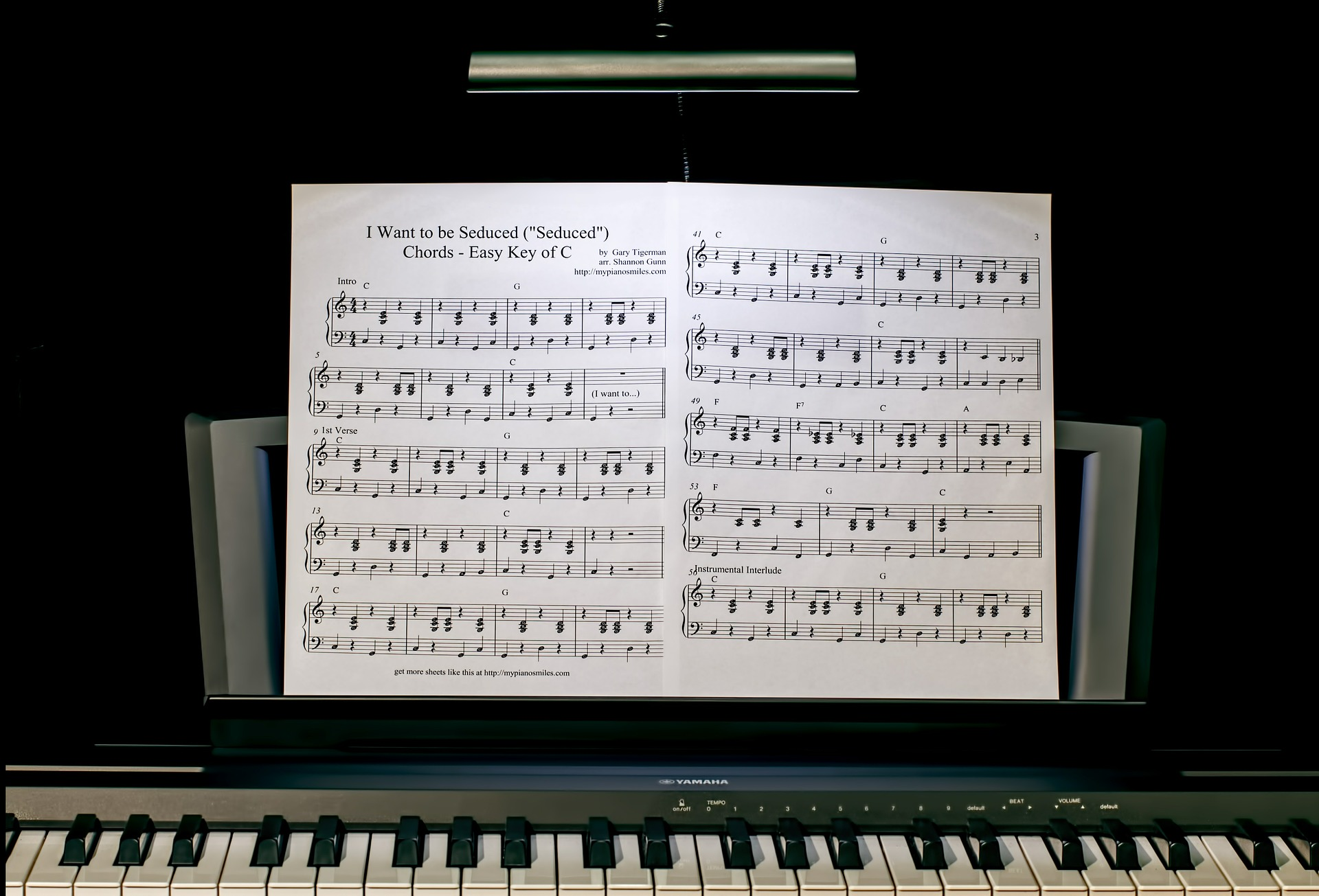music score at a piano