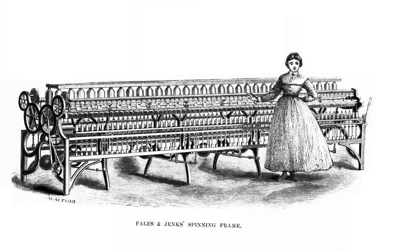Spinning Frame with Young Woman - Lowell Mill Girl Images ...