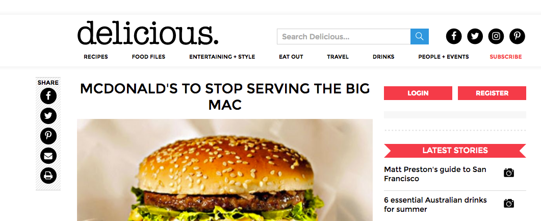 A screenshot of the Delicious article with the headline: McDonald's t stop serving the Big Mac