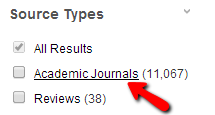 Under Source Types, click on Academic Journals.