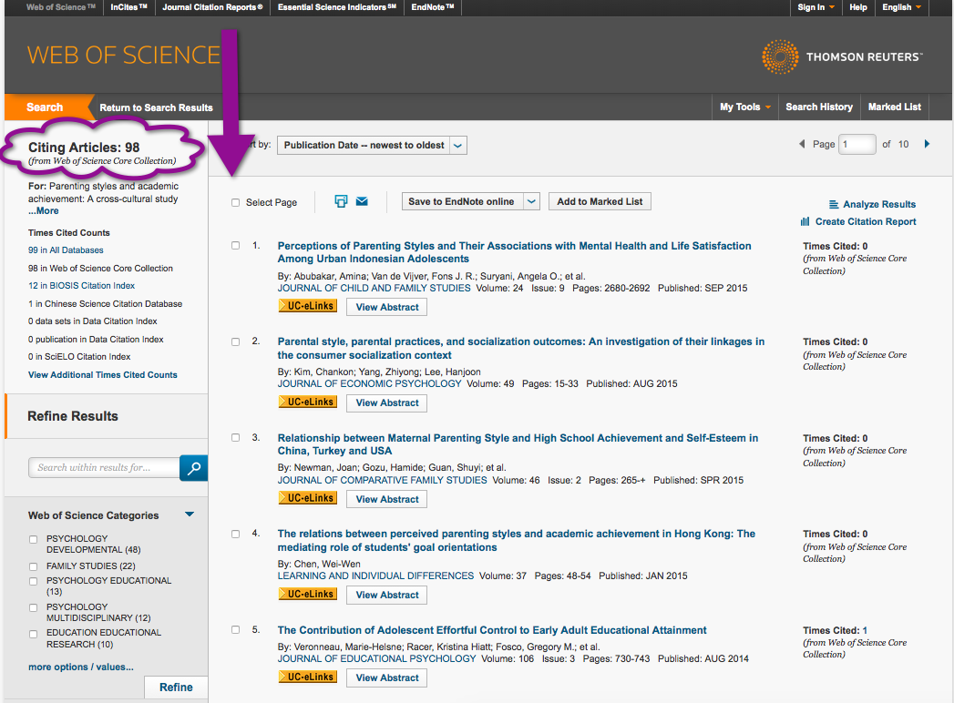 web of science cited articles listed