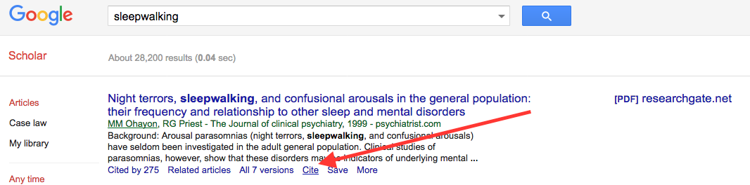 citing sources citing with google scholar