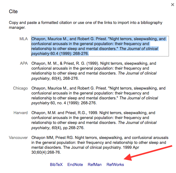 make sure to double check the citation google scholar generates while using this tool can save you time it is not perfect