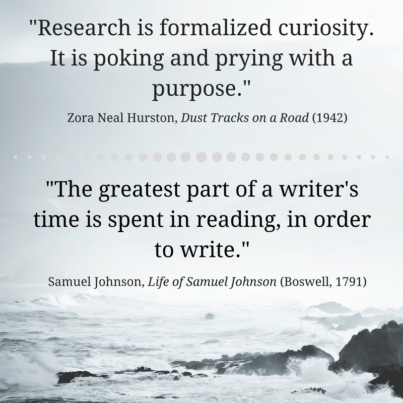 "What is research? ""Research is formalized curiosity. It is poking and prying with a purpose."" - Hurston; ""The greatest part of a writer's time is spent in reading, in order to write."" - Johnson"