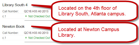 Library location information in the GIL catalog