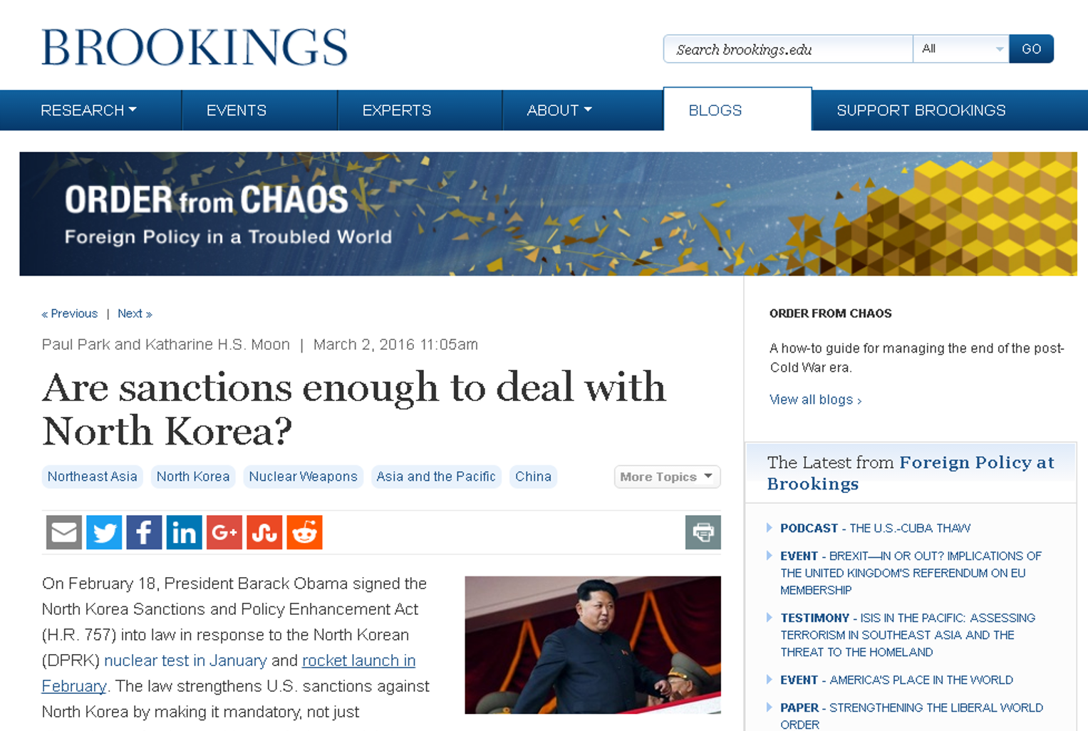 K H S (2016, March 2) Are Sanctions Enough To Deal With North Korea?