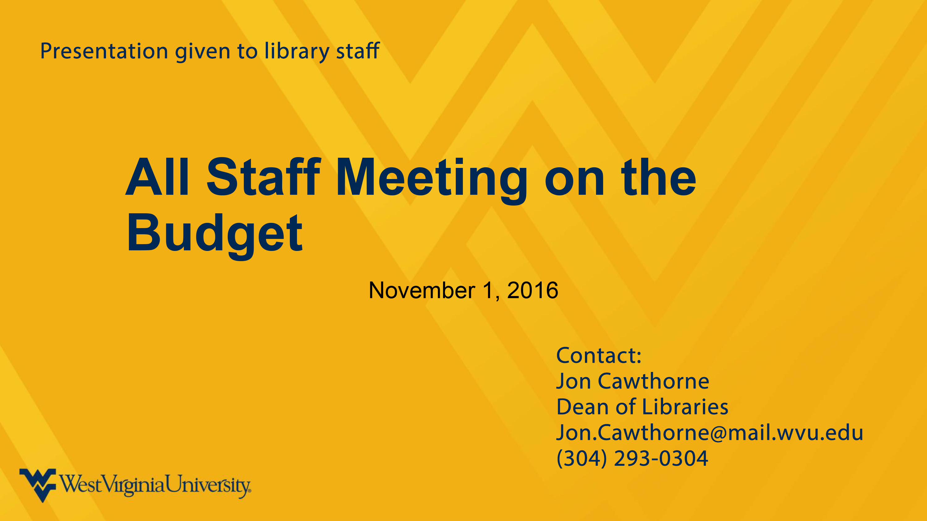 Library Staff Meeting on the Budget