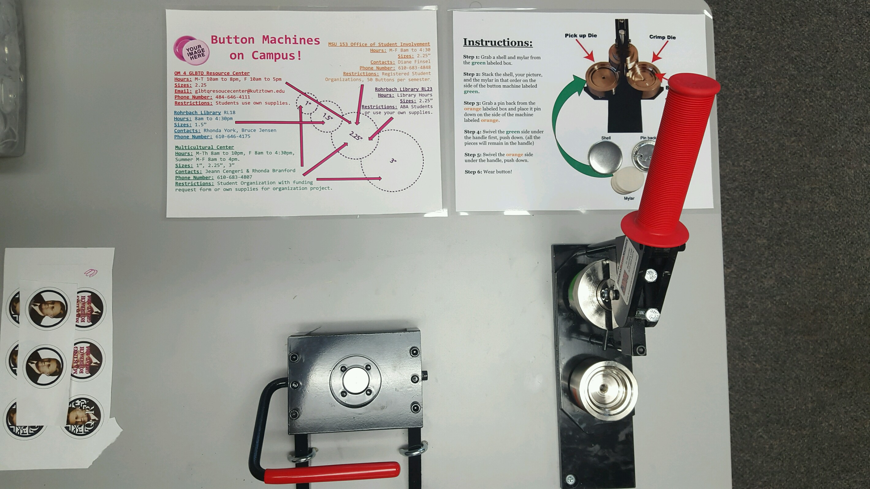 Button Machine, Instructions, and Campus Button Chart