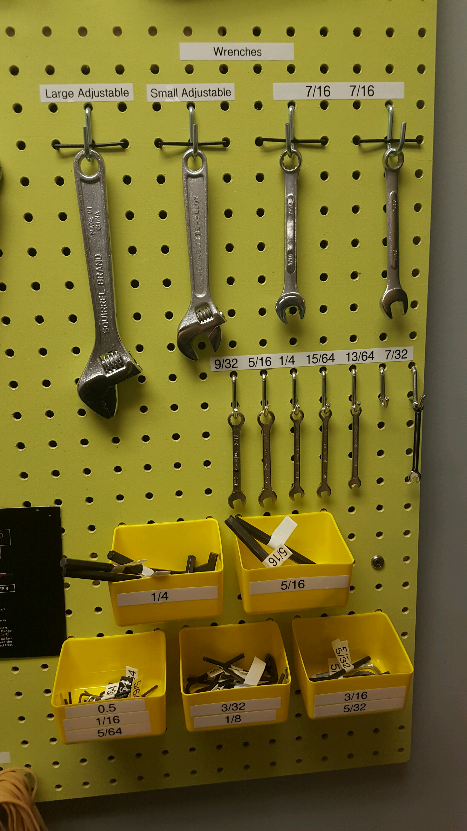 Wrenches varying in size, and Allen wrenches varying in size