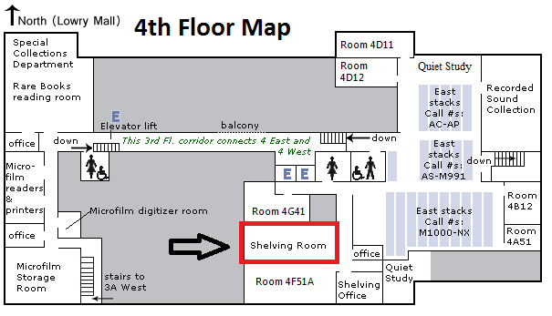 Map to 4 East Shelving Room