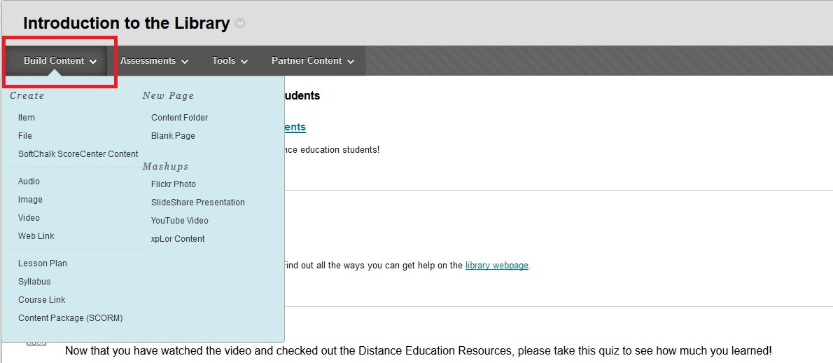 "Screenshot of an instructor's view of Blackboard with a box around the menu item ""Build Content."""