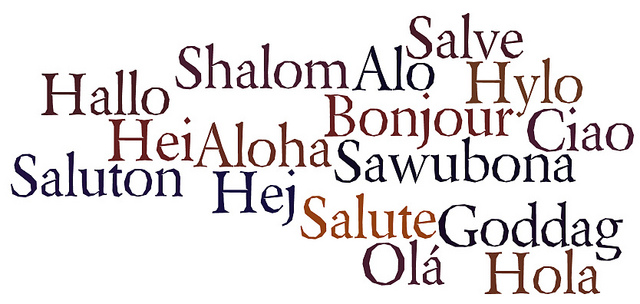 word cloud of hello in different languages