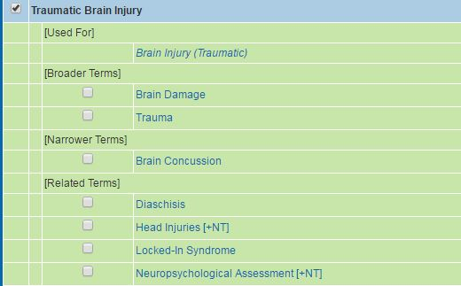 Psycinfo tree for Traumatic Brain Injury