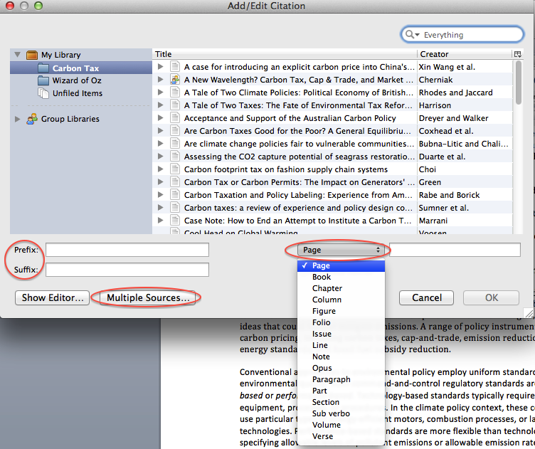 Cite and write zotero libguides at atlanta university center the begining or end of your citation use the prefix and suffix boxes if you want to cite multiple sources together click on the multiple sources button ccuart Image collections