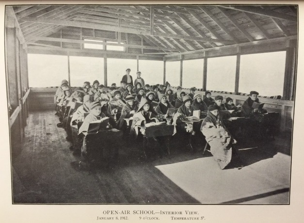 Black and white photograph of an open air school in Sprinfield, MA, January 1912.