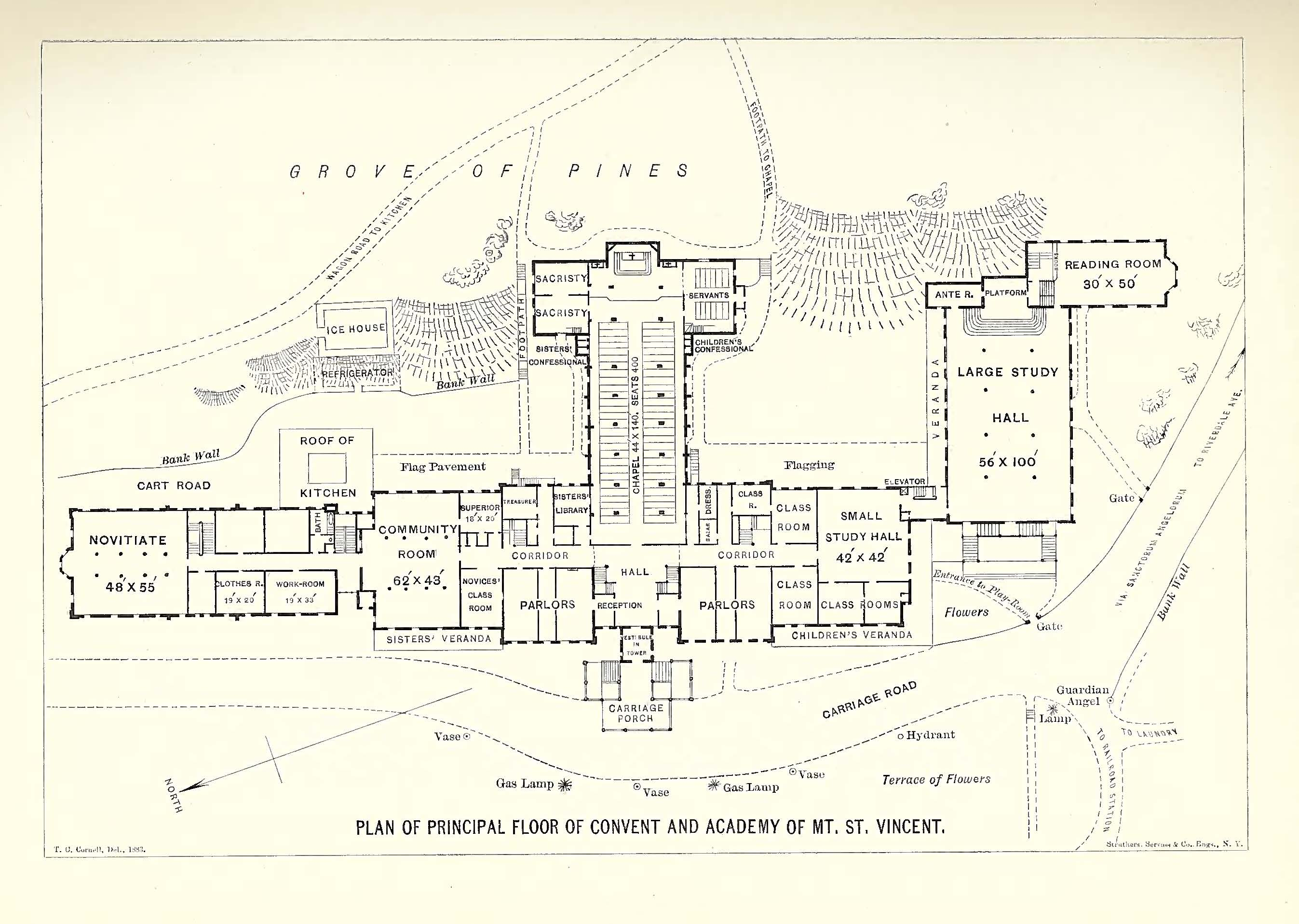 Map of the grounds of the Academy of Mount Saint Vincent, the first institution to offer higher learning for women in New York.
