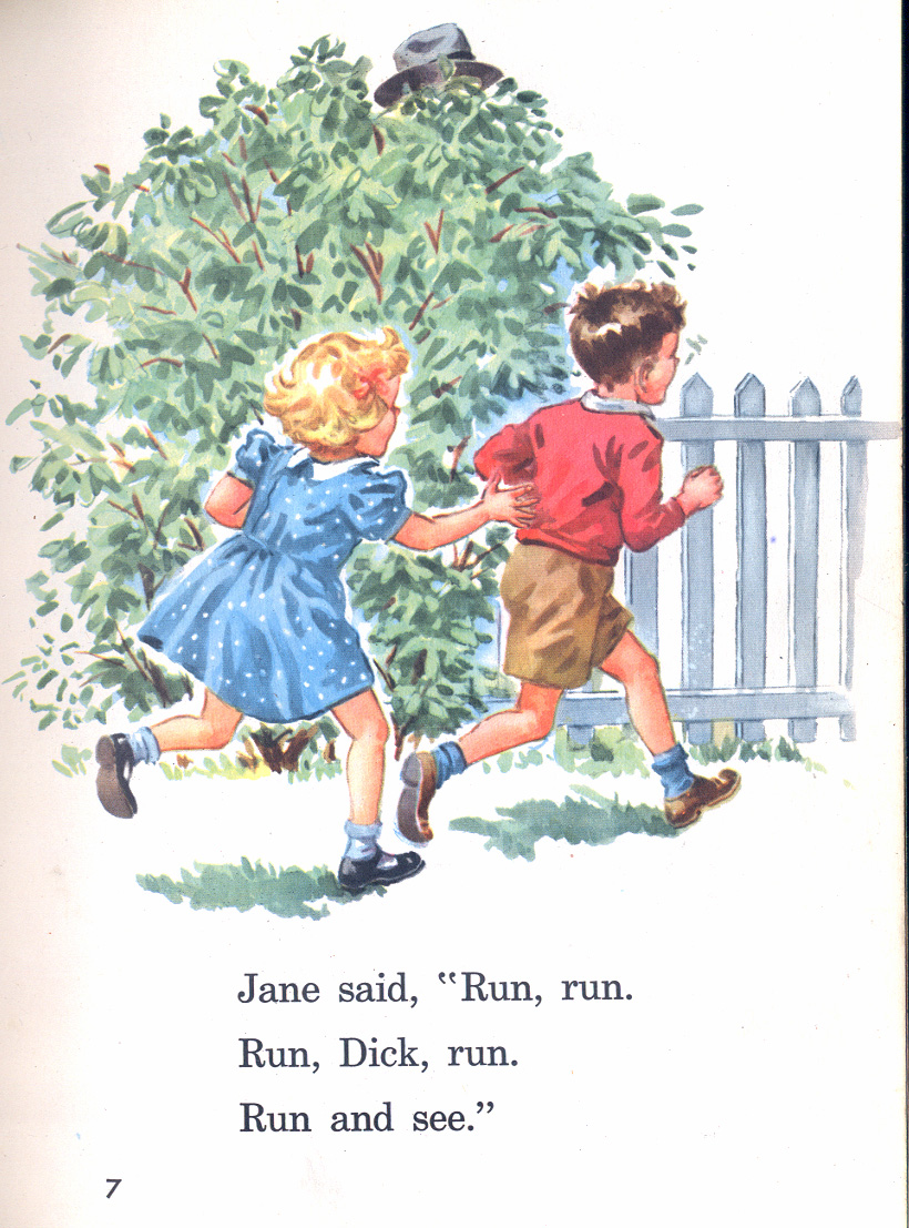 Page seven from the book, Fun with Dick and Jane.