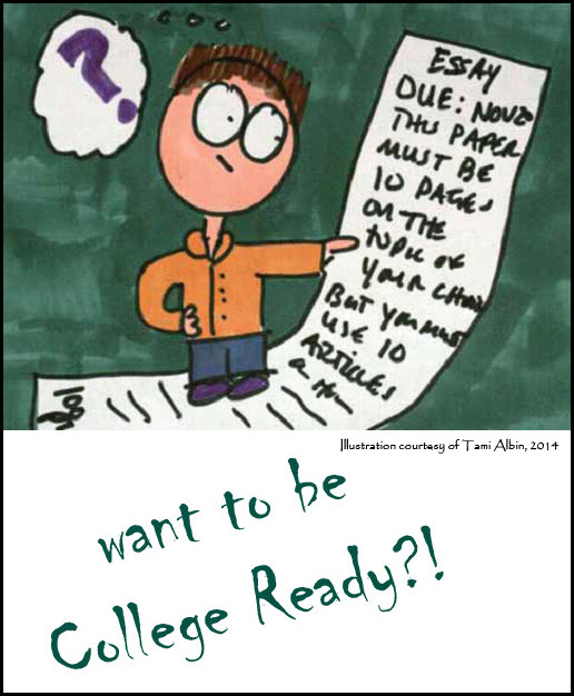 College Readiness Comic by Tami Albin, Student looking baffled