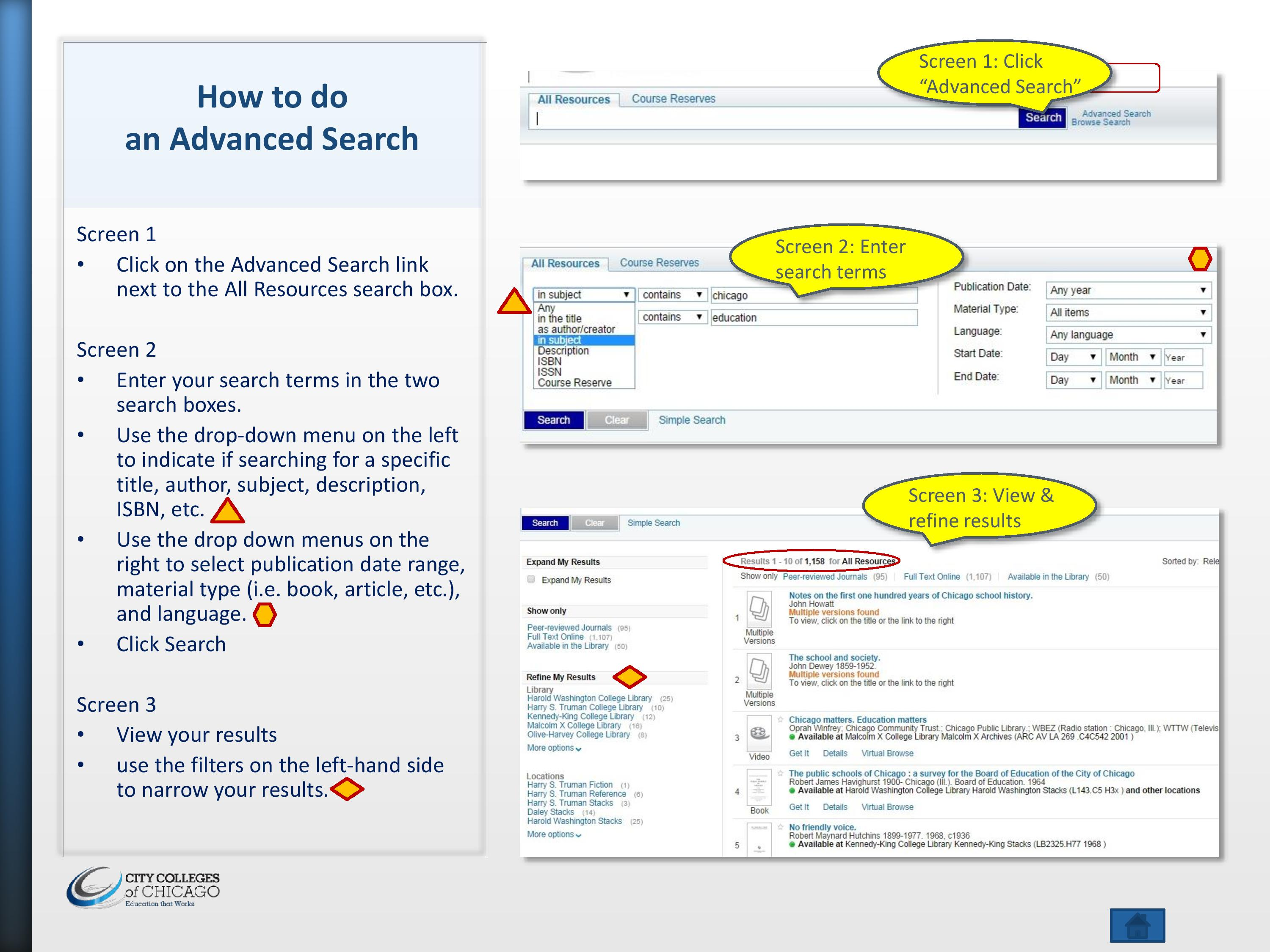 The image contains screenshots of the advanced search feature in the library catalog.