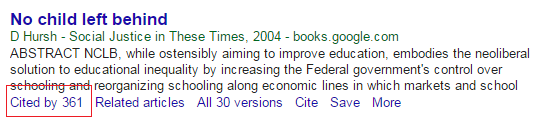 Google Scholar cited by.