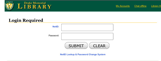 screenshot of the College NetID and password login page