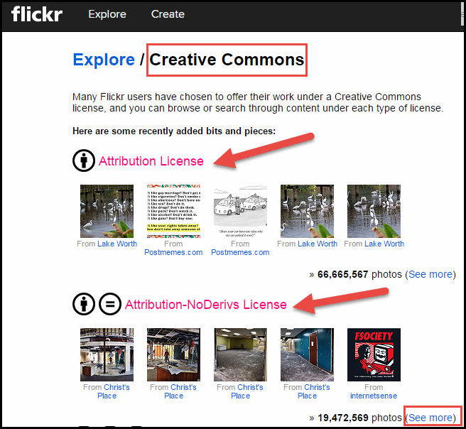 Flickr's Creative Commons interface