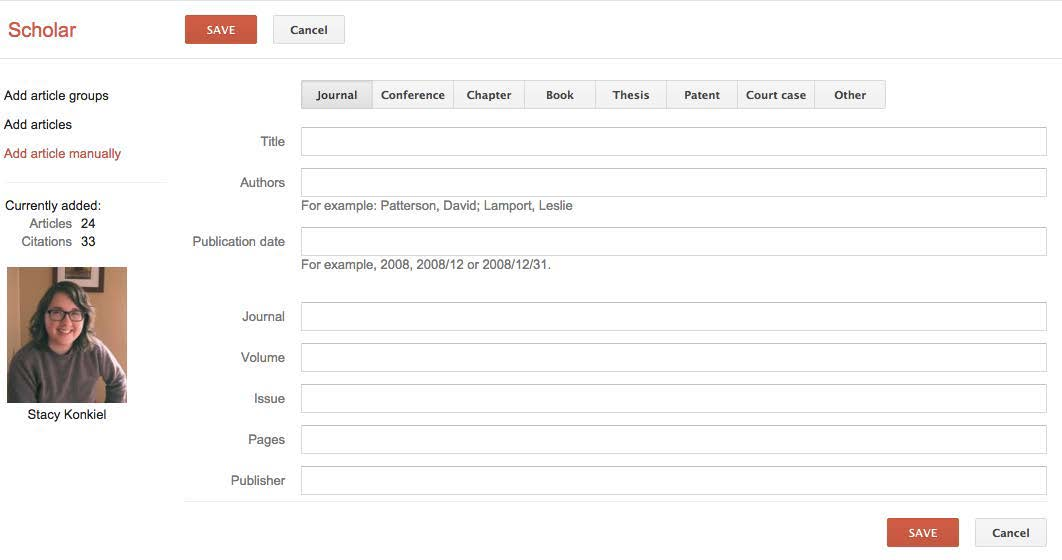 A screenshot of the form to manually add a publication to your Google Scholar profile