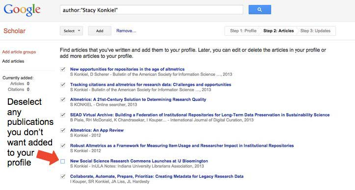 "A screenshot of a list of papers that Google Scholar has associated with an author. An arrow points to the checkbox next to one result, with text reading ""Deselect any publications you don't want added to your profile"""