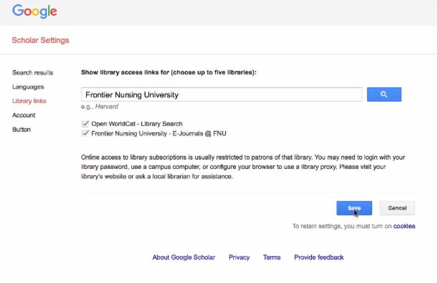 screenshot Google Scholar settings